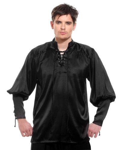 Gothic Frilly Ruffled Pirate Costume Satin Shirt