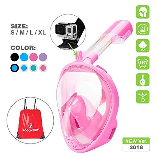 UKON Máscara de buceo, 180 grados de vision mascara de buceo con el diseño de cara llena respirando libre , tecnología...