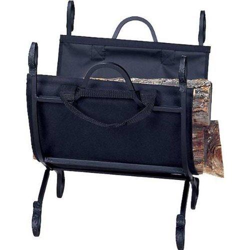 (Hammered Crock Log Holder with Canvas Carrier & Black Finish by Uniflame)
