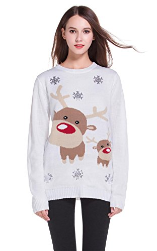 Women's Christmas Cute Reindeer Snowflakes Knitted Sweater Girl Pullover (Small, Reindeer)