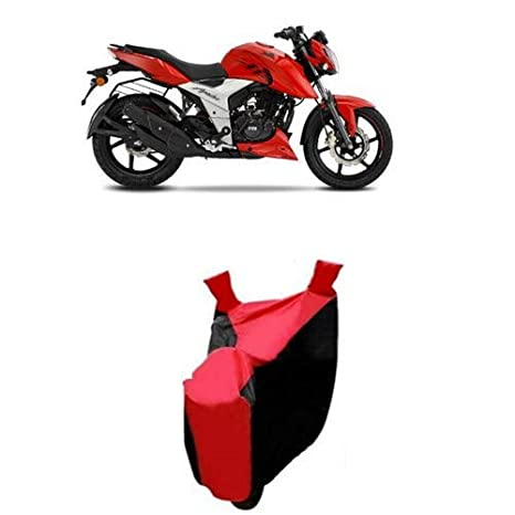 Dream Store Presents Supreme Quality Water Resistant Two Wheeler & Bike  Body Cover for TVS Apache RTR 160 4V with Hard Triple Stitched (Stripe Red)