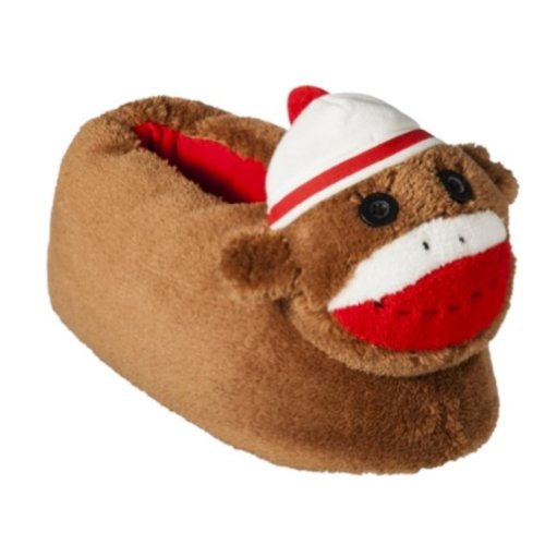 Nick & Nora Womens Brown Sock Monkey Slippers House Shoes M (7-8)