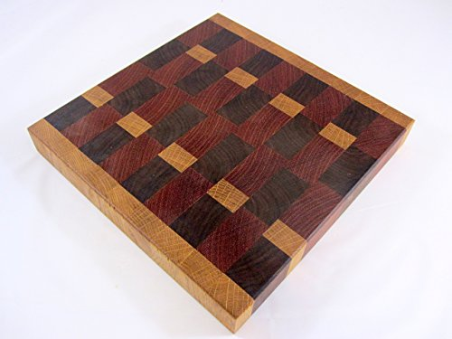 End Grain Cutting Board #50 with Walnut, White Oak and Jatoba Brazilian Cherry (ready to ship)