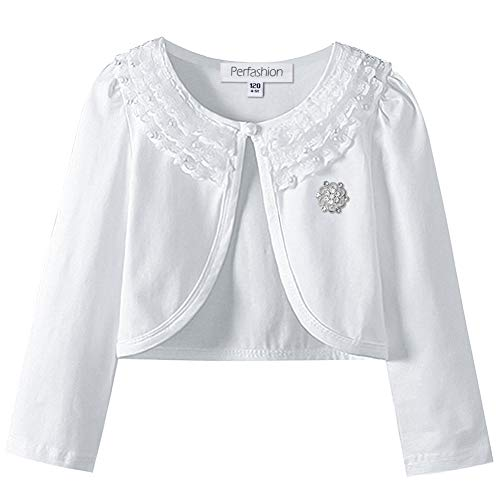 Beaded White Brooch - Girls Lace Bolero Shrugs Cotton Long Sleeve Cardigan Tops Party Dress Cover Up Pairing with A Cute Brooch