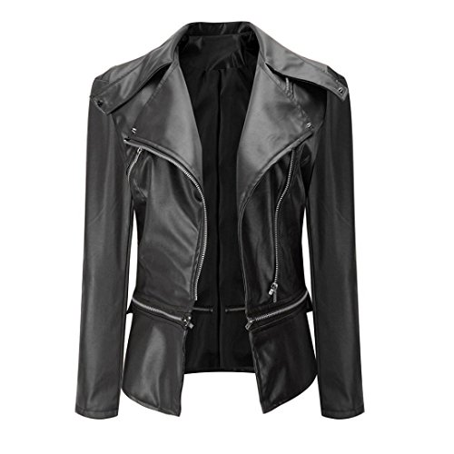 Womens Faux Leather Jacket, Hunputa Vintage Slim Motorcycle Women Jackets Bomber PU Soft Leather Zip Jacket Coat (US XS, Black)