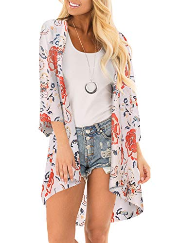 Women 3/4 Sleeve Floral Kimono Cover Up Sheer Chiffon Blouse Loose Long Cardigan Red -