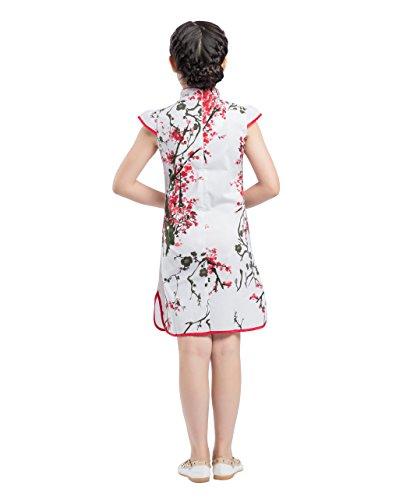 Blanco de de manga Frog Qipao Negro corta y Button Cape Akaayuko Floral Girls Cheongsam fiesta Rojo Vestido Cotton AUnFPTxz