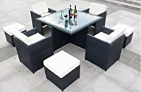 9 Nine Piece Modern Wicker PE Rattan Outdoor Patio Dining Table Set, with Chair's, Ottoman's, and Glass Table Top by SDSauna