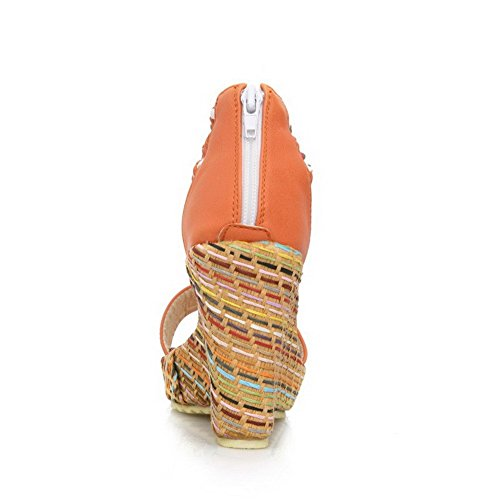 AllhqFashion Mujeres Cremallera Plataforma Cuero Colores Surtidos Puntera Abierta Sandalia Naranja