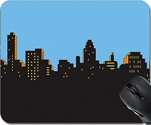 MSD Natural Rubber Mouse Pad Mouse Pads/Mat design 21536038 Retro Classic Comics Style City Skyline