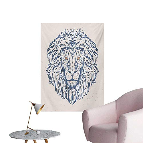 Anzhutwelve Modern Photo Wall Paper Portrait of A Lion King of The Forest Wildlife Animal Zodiac Sign IllustrationSlate Blue Beige W20 xL28 The Office Poster