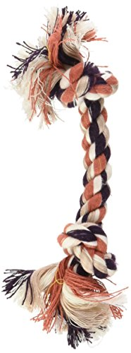 Multi Color Rope Toys (Petmate Booda Two Knot Rope Bone, 3-pack, Multicolored, X-Small)