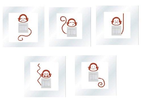 Adesivi vinile decorativo wall decor sticker per spina e interruttore, 20 colori di scegliere-5 scimmia SUPER STICKER