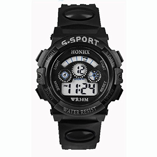 FEITONG(TM) Waterproof Children Boy Digital LED Quartz Alarm Date Sports Wrist (Acrylic Date Watch)