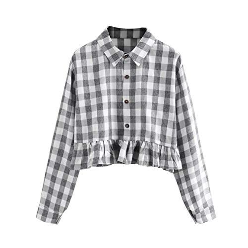 Donna Camicetta Primaverile Autunno Eleganti Shirt Casual Mode di Marca Classiche Vintage Baggy Blusa Reticolo Bluse Maniche Lunghe Corto Tops Gelb