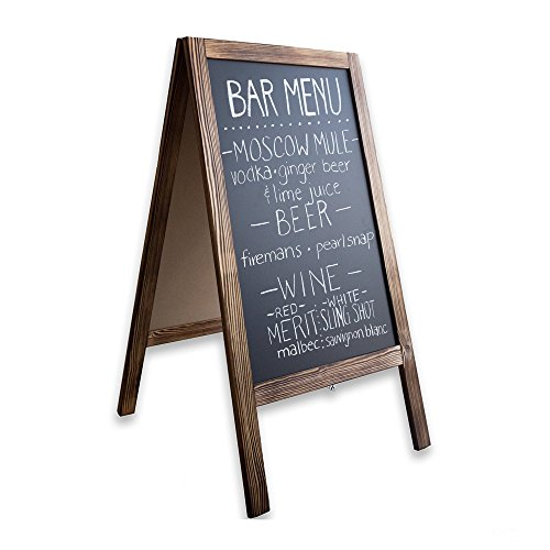 Wooden A-Frame Sign with Eraser & Chalk - 40 x 20 Inches Magnetic Sidewalk Chalkboard - Sturdy Freestanding Sandwich Board Menu Display for Restaurant, Business or Wedding]()