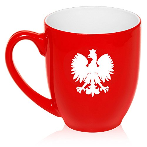 16 oz Large Bistro Mug Ceramic Coffee Tea Glass Cup Poland Polish Eagle (Red) ()