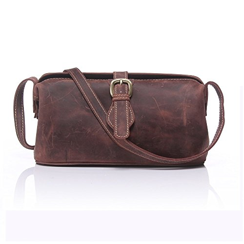 Boshiho Ladies Vintage Crossbody Bag Crazy Horse Leather Shoulder Bag with Adjustable - Diro Lady