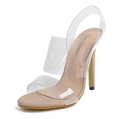 scarpe alti Pumps di apricot sandali aperte Tacchi Belle Nuove trasparente Estate GLTER Tacchi Donne Charme Shoes Cinturino Toe pellicola Court OwPxCwq1E