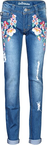 'dollhouse Girls\' Denim Flower Jeans with Rips, Dark, Size 14' (Tween Outfits)