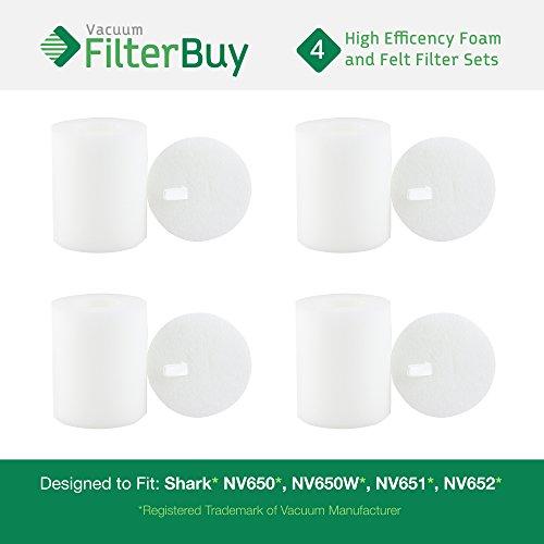 4 - Shark NV650 Replacement Foam & Felt Filter Kits, Part #