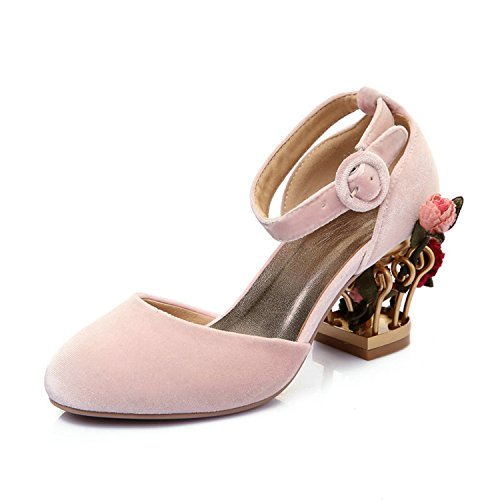 In pa Spessore Donne Alla Modo Fiore Delle Gabbia Del Rosa Di Cinturino Partito Caviglia Pattini Alti Pompe Rosso Tacchi Bang Di vqFwnT