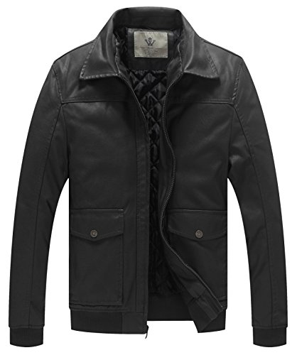WenVen Men's Button Down Leather Jacket(Black, Size L) Button Down Leather Coat