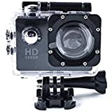 Action Camera HD 1080P Digital Waterproof 140 Degree Wide Angle MIC/Speaker Wifi and Motion Detection With Rechargeable Battery & Mounting Kits - Black
