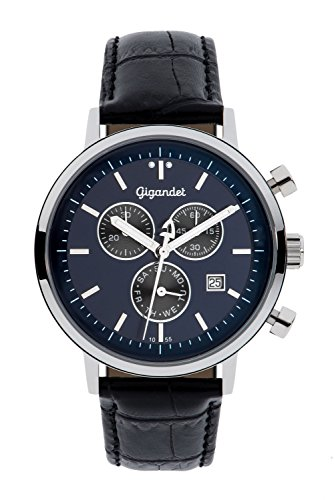 Gigandet Men's/Women's Quartz Watch Classico Chronograph Analog Leather Strap Black Blue G6-010