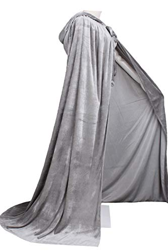 LuckyMjmy Unlined Velvet Medieval Renaissance Hooded Cloak Cape (Large, Gray) -