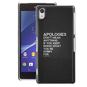 A-type Arte & diseño plástico duro Fundas Cover Cubre Hard Case Cover para Sony Xperia Z2 (Apologies Couple Hurt Heartbreak Love)