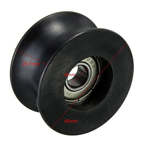 Letool 4pcs 608zz coated pa66 nylon 1.57inches bearing roller wheel 8x40x20mm U type groove pulley