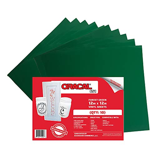(10 Sheets) Oracal 651 Forest Green Adhesive Craft Vinyl for Cricut, Silhouette, Cameo, Craft Cutters, Printers, and Decals - 12