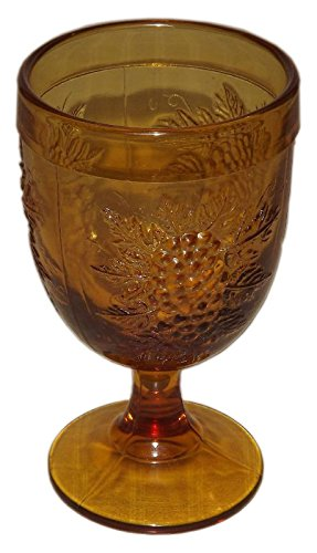 Yellow Depression Patterns Glass (Vintage Amber Glass Embossed Grape Pattern 5 3/4