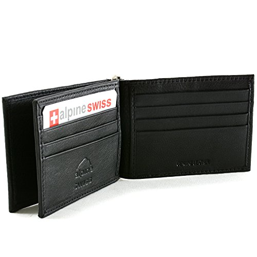 Alpine Swiss RFID Blocking Mens Leather Deluxe Spring Money Clip Wallet Black