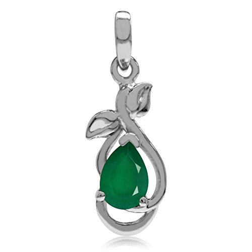 Natural Emerald Green Agate White Gold Plated 925 Sterling Silver Leaf Pendant