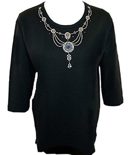 Swarovski T-shirt Tank Top - Christine Alexander - Turquoise Drop Necklace, 3/4 Sleeve Top with Swarovski Crystals