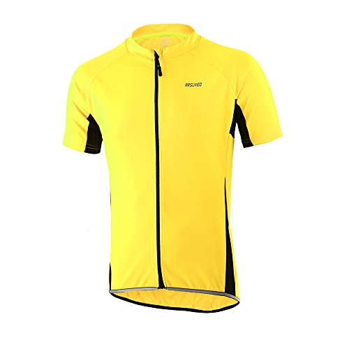 Black Mens Bike Jersey - ARSUXEO Men's Slim Fit Cycling Jersey Short Sleeves Bike Bicycle MTB Shirt Yellow Size X-Large