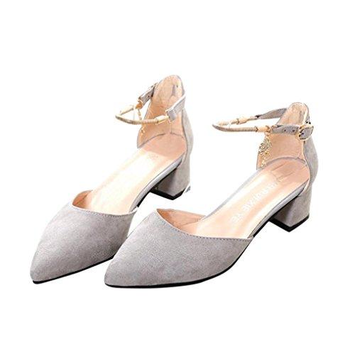 LANDFOX Zapatos de tacón alto Zapatos de boda Zapatos de sandalias de verano Zapatos de plataforma de cuña Gris