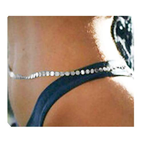 Fstrend Gorgeous Body Chain Necklace Shiny Sequins Bikini Nightclub Party Long Belly Button Chains Jewelry for Women and Girls (Silver)