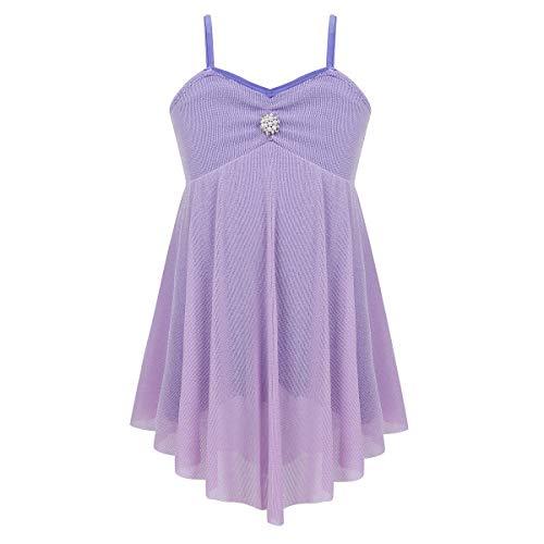 - inhzoy Girls' Lyrical Modern Contemporary Dance Sweetheart Rhinestone Shorty Unitard Dress Ballerina Costume Lavender 14