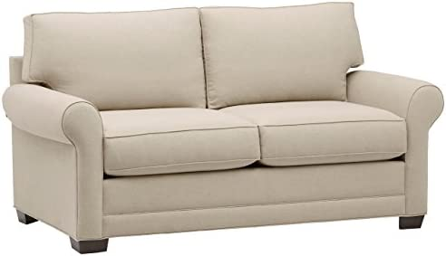 Stone Beam Kristin Round Arm Performance Fabric Loveseat Sofa Couch, 76 W, Sand