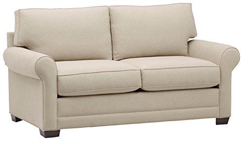 Stone Beam Kristin Round Arm Performance Fabric Loveseat Sofa Couch, 76 W, Sand
