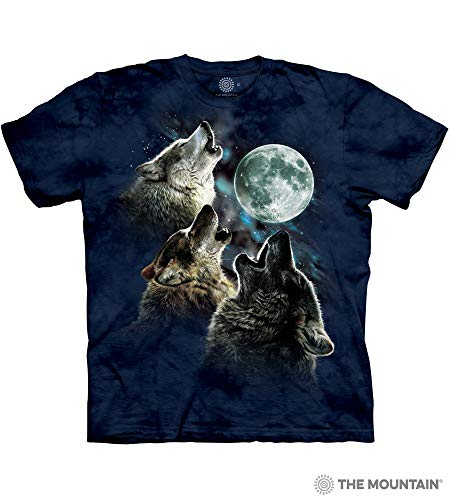 (The Mountain Three Wolf Moon In Blue Adult T-Shirt, Blue, 4XL)