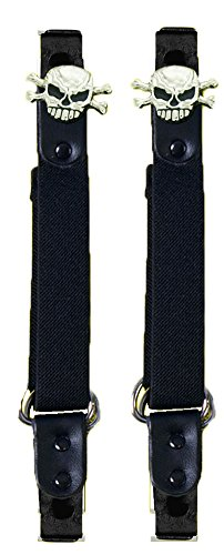 Skull & Crossbones Motorcycle Pant Clip Boot Bungee Riding Straps
