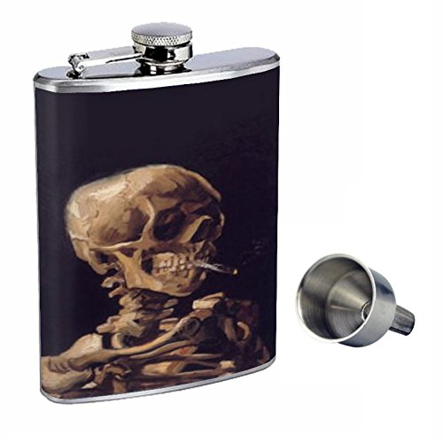 vincent-van-gogh-skull-smoking-perfection-in-style-8oz-stainless-steel-whiskey-flask-with-free-funne
