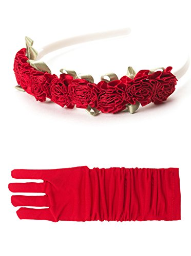[Little Adventures Yellow Beauty Headband & Red Glove Set for Girls - One-Size (3+ Yrs)] (Princess Jasmine Costumes Tiara)
