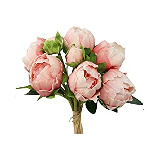 Angel Isabella, LLC Real Touch Peony Bouquet-6blooms 2buds Perfect for Home Decor Wedding, DIY Bouquet Corsage Centerpiece PU Realistic Feel (Rose Gold) 84