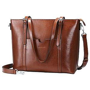 """Women 15.6"""" Laptop Genuine Leather Shoulder Bag Work Handbag Satchel Carry-on Tote Bag in Trolley Handle by Enmain"""