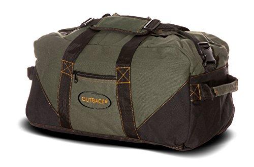 Ledmark Heavyweight Cotton Canvas Outback Gym Bag, Black/Green, 24